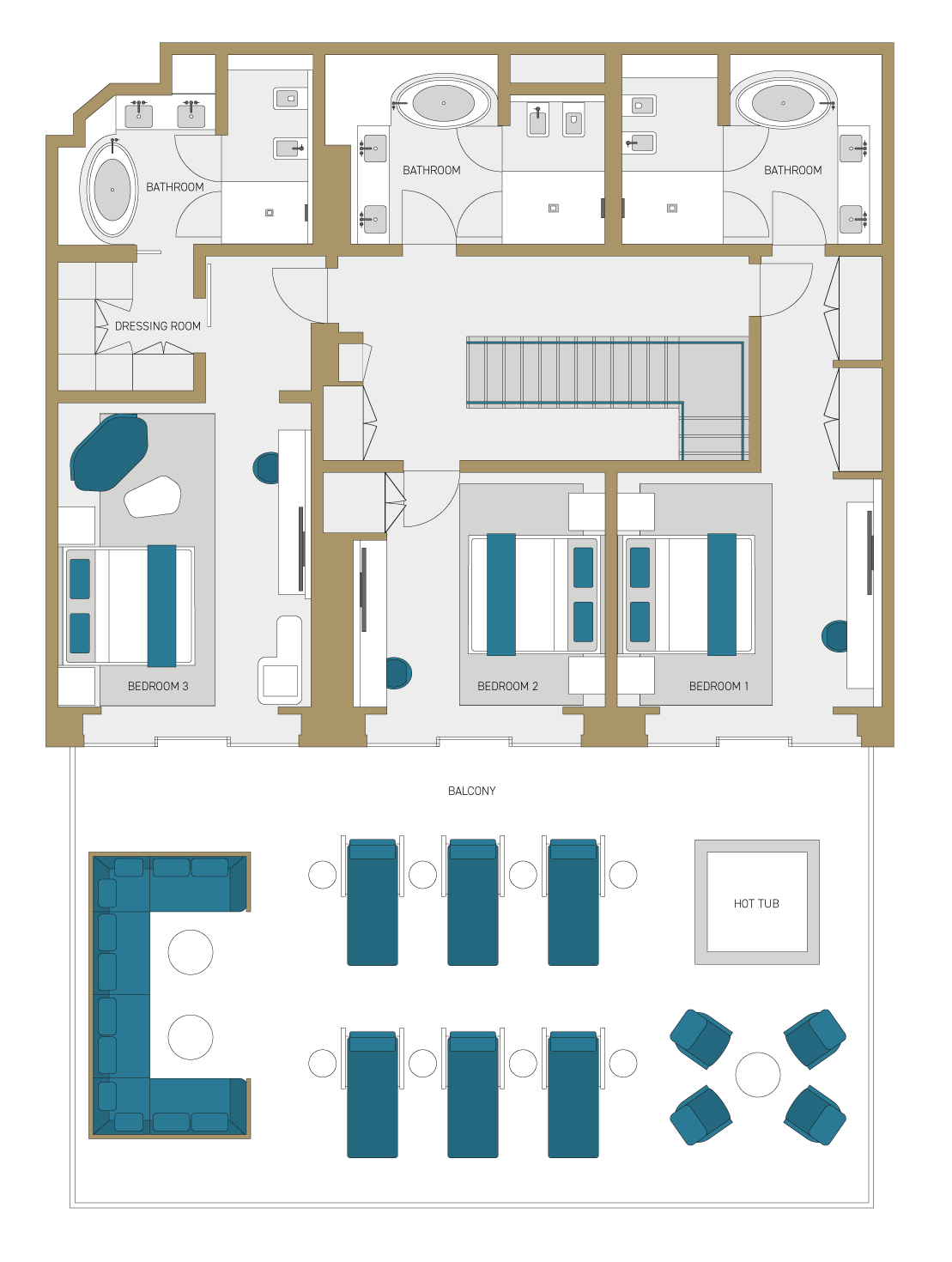Four Bedroom Suites Features floorplan.
